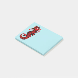 Red and Black Seahorse Post-it Notes