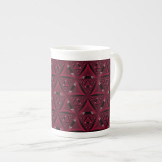Red and Black Sierpinski Triangle Bone China Mug