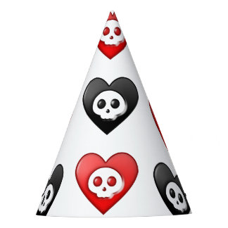 Red and Black skull Hearts Party Hat