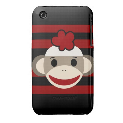 Red and Black Sock Monkey Girl Flower Hat iPhone 3 Cases
