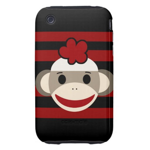Red and Black Sock Monkey Girl Flower Hat iPhone 3 Tough Case