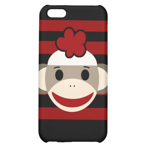 Red and Black Sock Monkey Girl Flower Hat Case For iPhone 5C