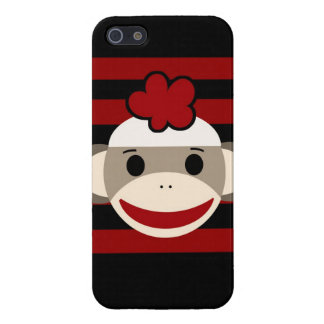 Red and Black Sock Monkey Girl Flower Hat Case For iPhone 5