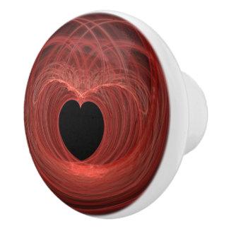 Red and Black Spiraled Heart Artwork Ceramic Knob