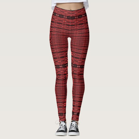 Red and Black Spirals and Lines Leggings