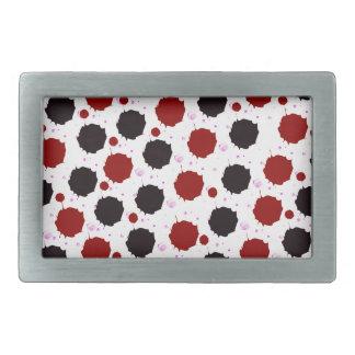 Red and Black Splash Dots Rectangular Belt Buckle