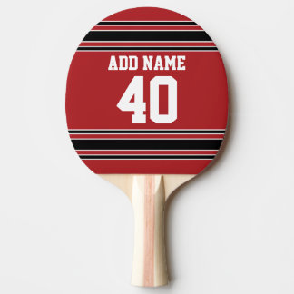 Red and Black Sports Jersey Custom Name Number Ping Pong Paddle