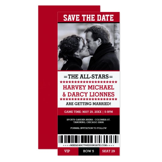 Red and Black Sports Ticket Save the Date Card