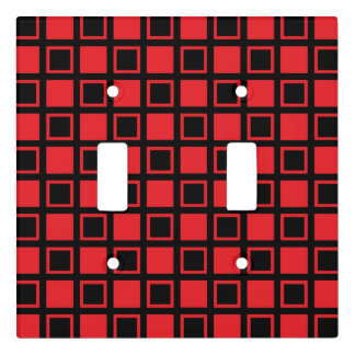 Red and Black Squares Light Switch Cover