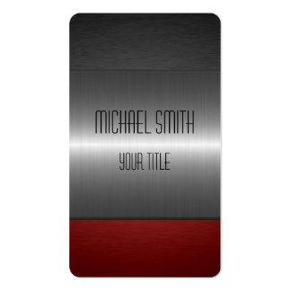 Red and Black Stainless Steel Metal Business Card Template