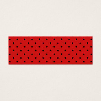 Red and Black Stars Pattern. Mini Business Card