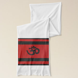 "Red and Black Striped ""Om"" Scarf"