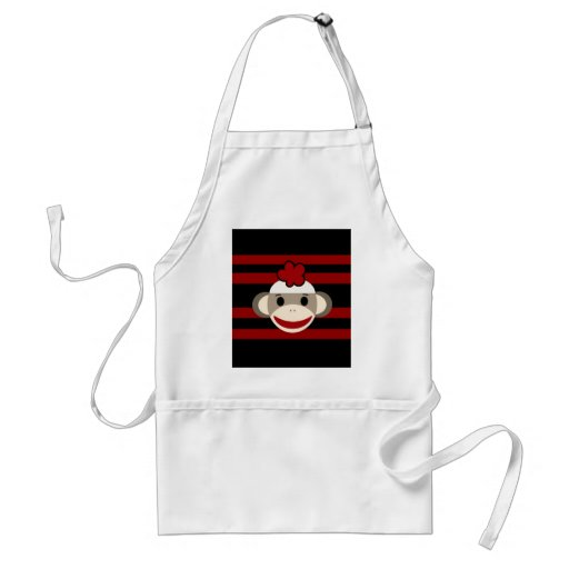 Red and Black Striped Sock Monkey Girl Flower Hat Apron