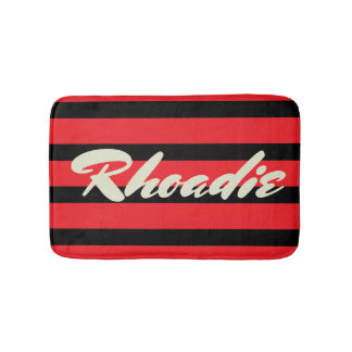 Red and Black Stripes Bathroom Mat