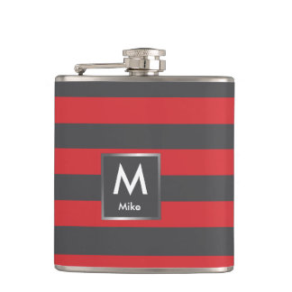 Red and black stripes hip flask