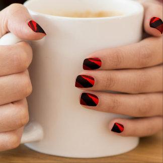 Red and Black Stripes Minx Nail Art