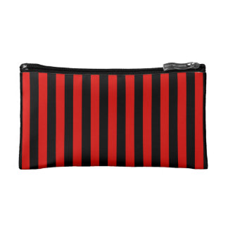 Red and black stripes - modern cosmetic bag