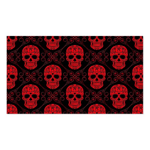 Red and Black Sugar Skull Pattern Business Card