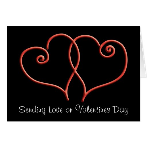 Red and Black Swirl Hearts Valentines Cards