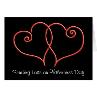 Red and Black Swirl Hearts Valentines Greeting Card