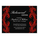 "Red and Black Swirl Rehearsal Dinner Card 4.25"" X 5.5"" Invitation Card"