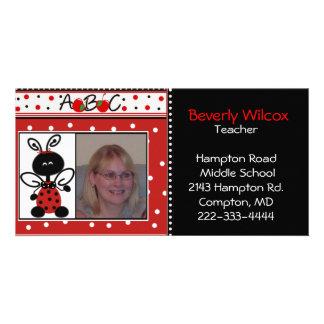 Red and Black Teachers Photo Business Card Custom Photo Card