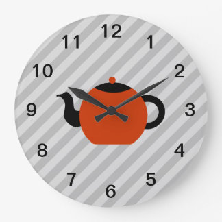 Red and black teapot design, on gray stripes. large clock
