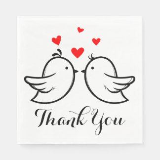 Red And Black Thank You Lovebirds Wedding Party Disposable Napkin