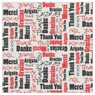 Red and Black Thank You Word Cloud Fabric