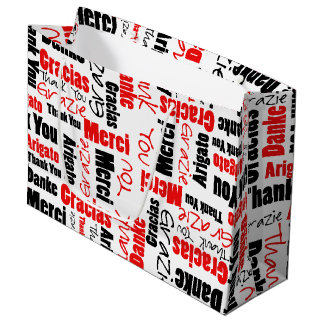 Red and Black Thank You Word Cloud Large Gift Bag