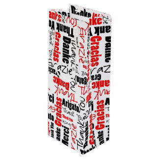 Red and Black Thank You Word Cloud Wine Gift Bag