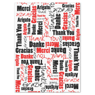 Red and Black THANK YOU Word Collage Tissue Paper