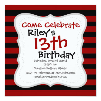 Red and Black Thick Striped Layer Pattern Card