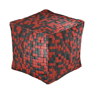 Red and black tiles pouf