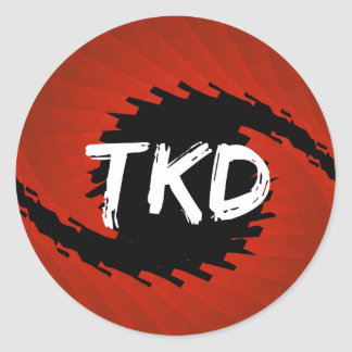 Red and Black TKD Hurricane Round Sticker