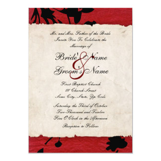 Red and Black Torn Paper Wedding Invitation