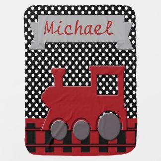 Red and Black Train Railroad Monogram Baby Boy Baby Blanket