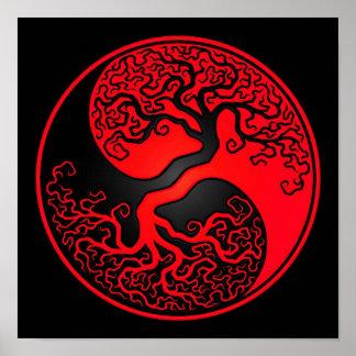 Red and Black Tree of Life Yin Yang Print