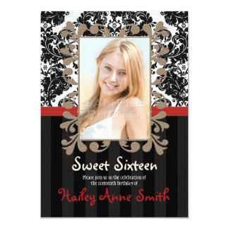 """Red and Black Vintage Lace Damask Sweet Sixteen 5"""" X 7"""" Invitation Card"""