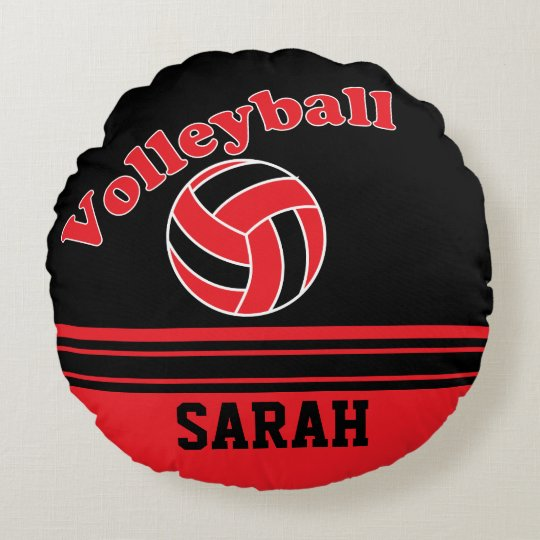 Red and Black Volleyball Round Pillow
