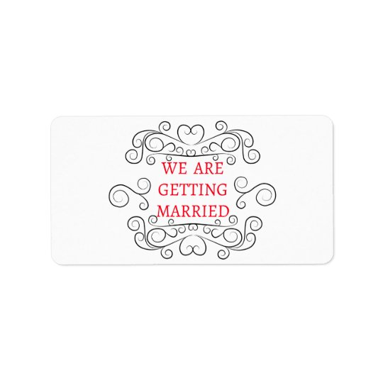 Red And Black Wedding Announcement Swirly Heart Label
