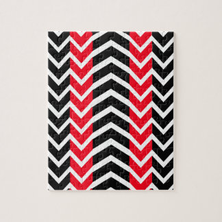 Red and Black Whale Chevron Jigsaw Puzzle