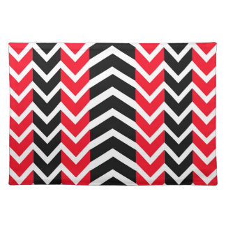 Red and Black Whale Chevron Placemat