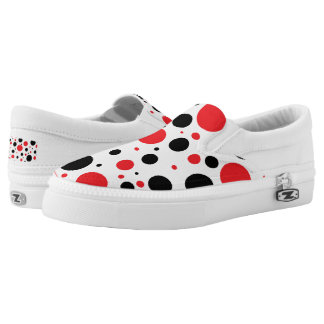 Red and Black Whimsical Polka Dots Slip-On Sneakers