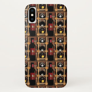 Red and Black Wine Bottles in Rack iPhone X Case
