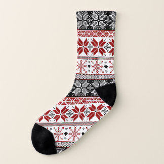 Red and Black Winter Fair Isle Pattern 1