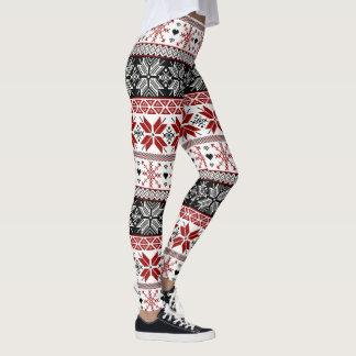 Red and Black Winter Fair Isle Pattern Leggings