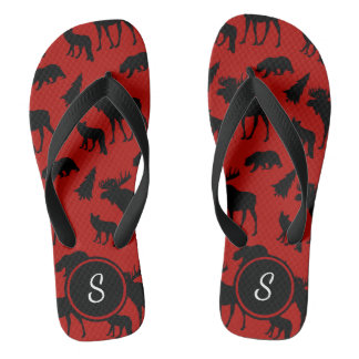 Red And Black Woodland Pattern With Initial Flip Flops