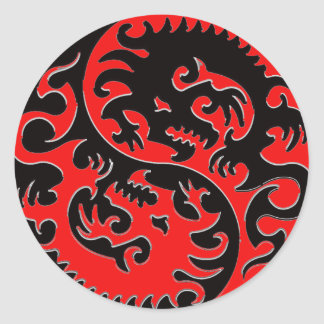 Red and Black Yin Yang Dragon Classic Round Sticker