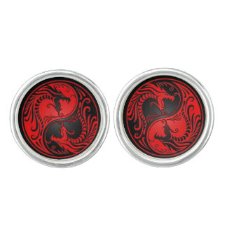 Red and Black Yin Yang Dragons Cuff Links